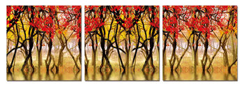 Red leaves Mounted Art Print