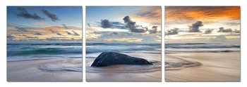 Rock surrounded by the sea Mounted Art Print