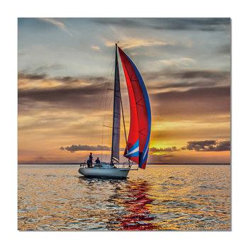 Sailing boat at sea Mounted Art Print