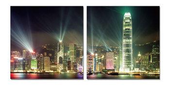 Shining night city Mounted Art Print