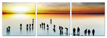 Silhouette at sunset Mounted Art Print