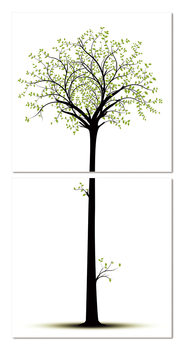 Silhouette of a tree Mounted Art Print