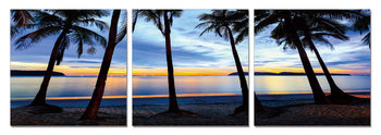 Silhouettes of palm trees on the beach Mounted Art Print