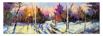 Sunrise over a winter landscape Mounted Art Print