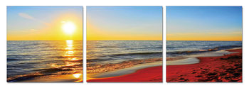 Sunset on the beach Mounted Art Print