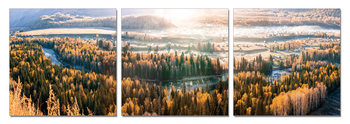 Sunset over forests Mounted Art Print