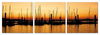 Sunset over pier Mounted Art Print