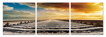 Sunset over rail Mounted Art Print