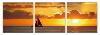 Sunset over the sea Mounted Art Print