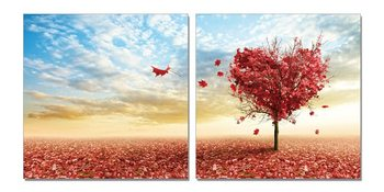 Tree blooming hearts Mounted Art Print