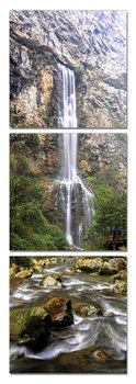 Waterfall in the forest Mounted Art Print
