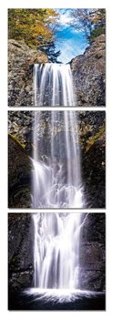 Waterfall under a blue sky Mounted Art Print