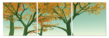 Yellow leaves on a tree Mounted Art Print