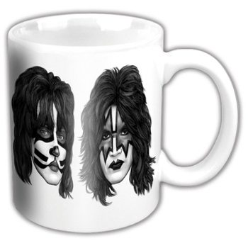 Kiss - Graphite Faces White Mug