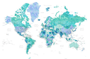 Murais de parede Aquamarine and blue watercolor detailed world map