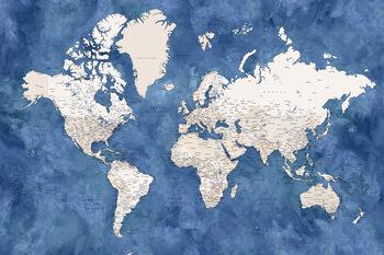 Murais de parede Blue and beige watercolor detailed world map