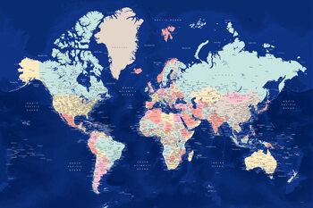 Murais de parede Blue and pastels detailed world map