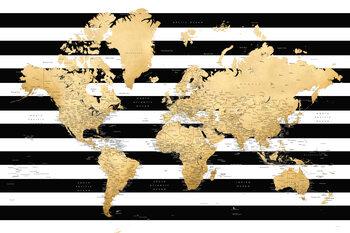 Murais de parede Detailed gold world map with stripes, Harper