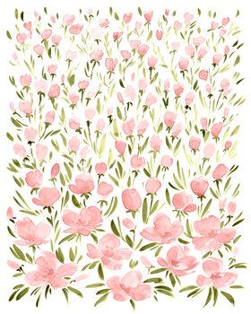 Murais de parede Field of pink watercolor flowers