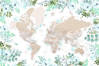 Murais de parede Floral bohemian world map with cities, Leanne