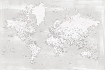 Murais de parede Rustic distressed detailed world map in neutrals