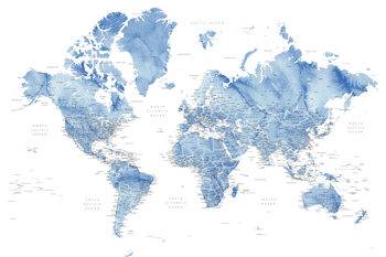 Murais de parede Watercolor world map with cities in muted blue, Vance