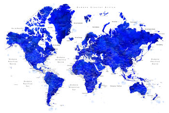 Murais de parede World map with labels in Spanish, cobalt blue watercolor