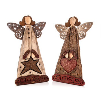 Angel Wooden Standing with Heart and Star, 36 cm Objectos Decorativos