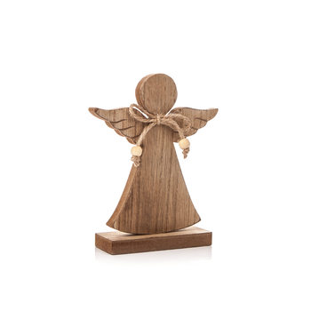 Angel Wooden with Bow, 16 cm Objectos Decorativos