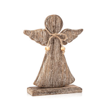 Angel Wooden with Bow Faded Paint, 21 cm Objectos Decorativos