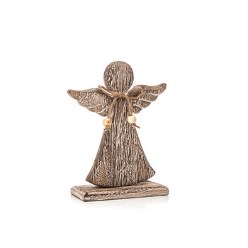 Angel Wooden with Bow Faded Paint, 26 cm Objectos Decorativos