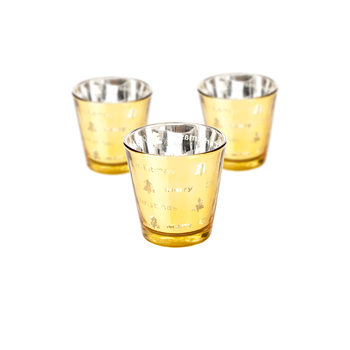 Candle Holder Narrow Merry Xmas Gold 17cm, set of 3 pcs Objectos Decorativos