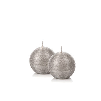 Candle Sphere 6 cm, Silver, set of 2 pcs Objectos Decorativos