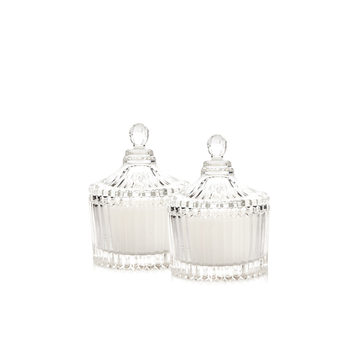 Candle with Lid - Vanilla, White 9 cm, set of 2 pcs Objectos Decorativos