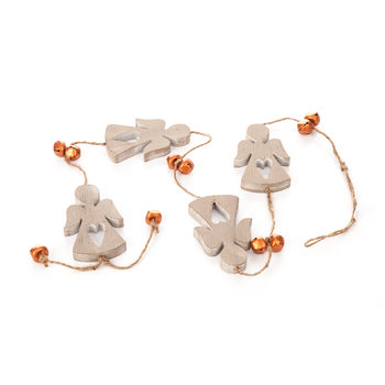 Girlanda Wooden Angel with Bells, 100 cm Objectos Decorativos