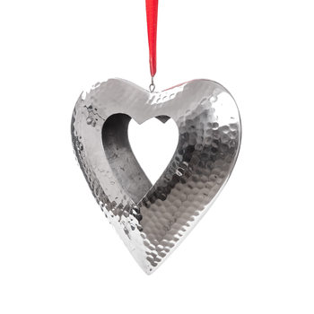 Hanging Candle Holder Heart Silver 23 cm Objectos Decorativos