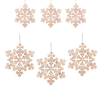 Hanging Wooden Snowflake, 15 cm, set of 6 pcs Objectos Decorativos