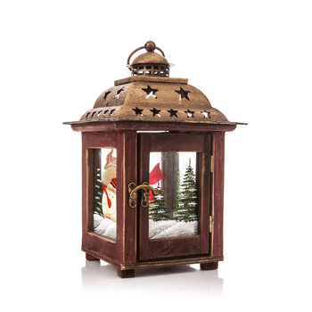 Lantern Wooden, 26 cm Objectos Decorativos