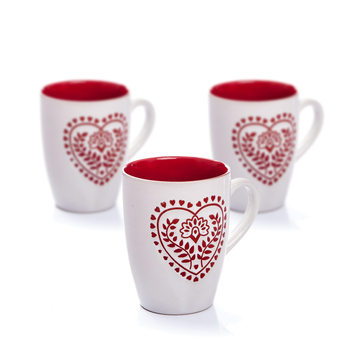Mug White-Red Heart 300 ml, set of 3 pcs Objectos Decorativos