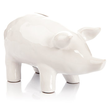 Piggybank Pig – Large, White Objectos Decorativos