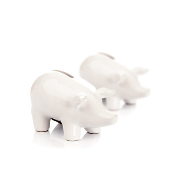 Piggybank Pig – Small, White, set of 2 pcs Objectos Decorativos