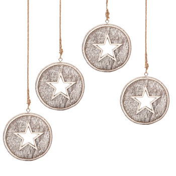 Wooden Christmas Decoration Star Faded Paint, 8 cm, set of 4 pcs Objectos Decorativos