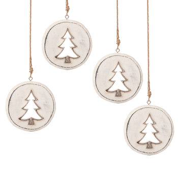 Wooden Christmas Decoration Tree White, 8 cm, set of 4 pcs Objectos Decorativos