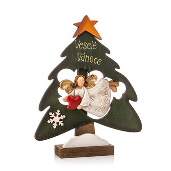 Wooden Christmas Tree with Flying Angel and Heart, 22 cm Objectos Decorativos