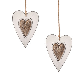 Wooden Heart Decoration Double Hanger, 12 cm, set of 2 pcs Objectos Decorativos