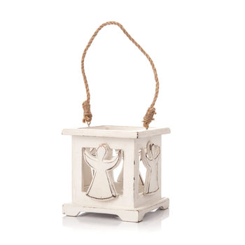 Wooden Lantern with Angel White, 9 cm Objectos Decorativos
