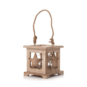 Wooden Lantern with Star Faded Paint, 9 cm Objectos Decorativos
