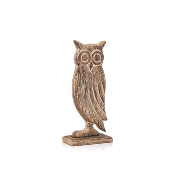 Wooden Owl Faded Paint, 18 cm Objectos Decorativos