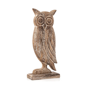 Wooden Owl Faded Paint, 24 cm Objectos Decorativos