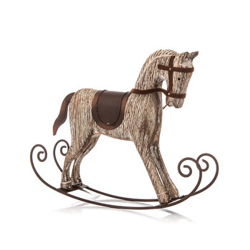 Wooden Rocking Horse, 23 cm Objectos Decorativos